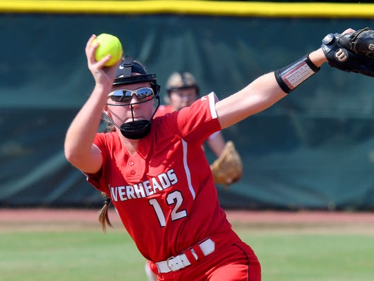 Riverheads' Emily Walters delivers a pitch in the second inning during a Class 1A state softball semifinal game played in Radford on Friday, June 8, 2018.