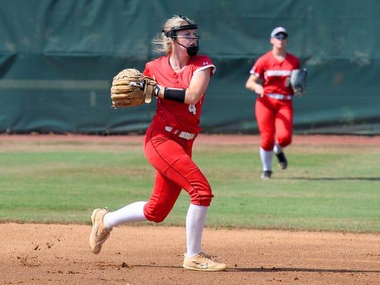 Riverheads' Samantha Persinger throws to first base