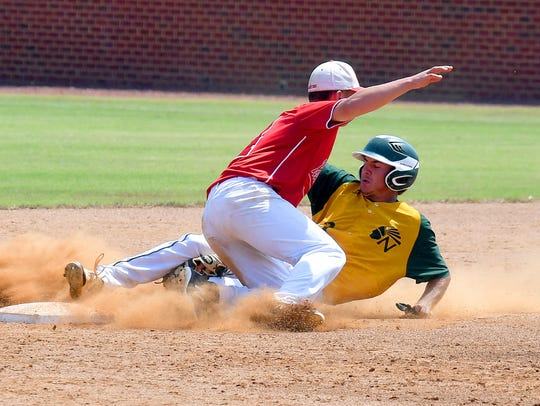 Riverheads' Elijah Dunlap tags out Northumberland's