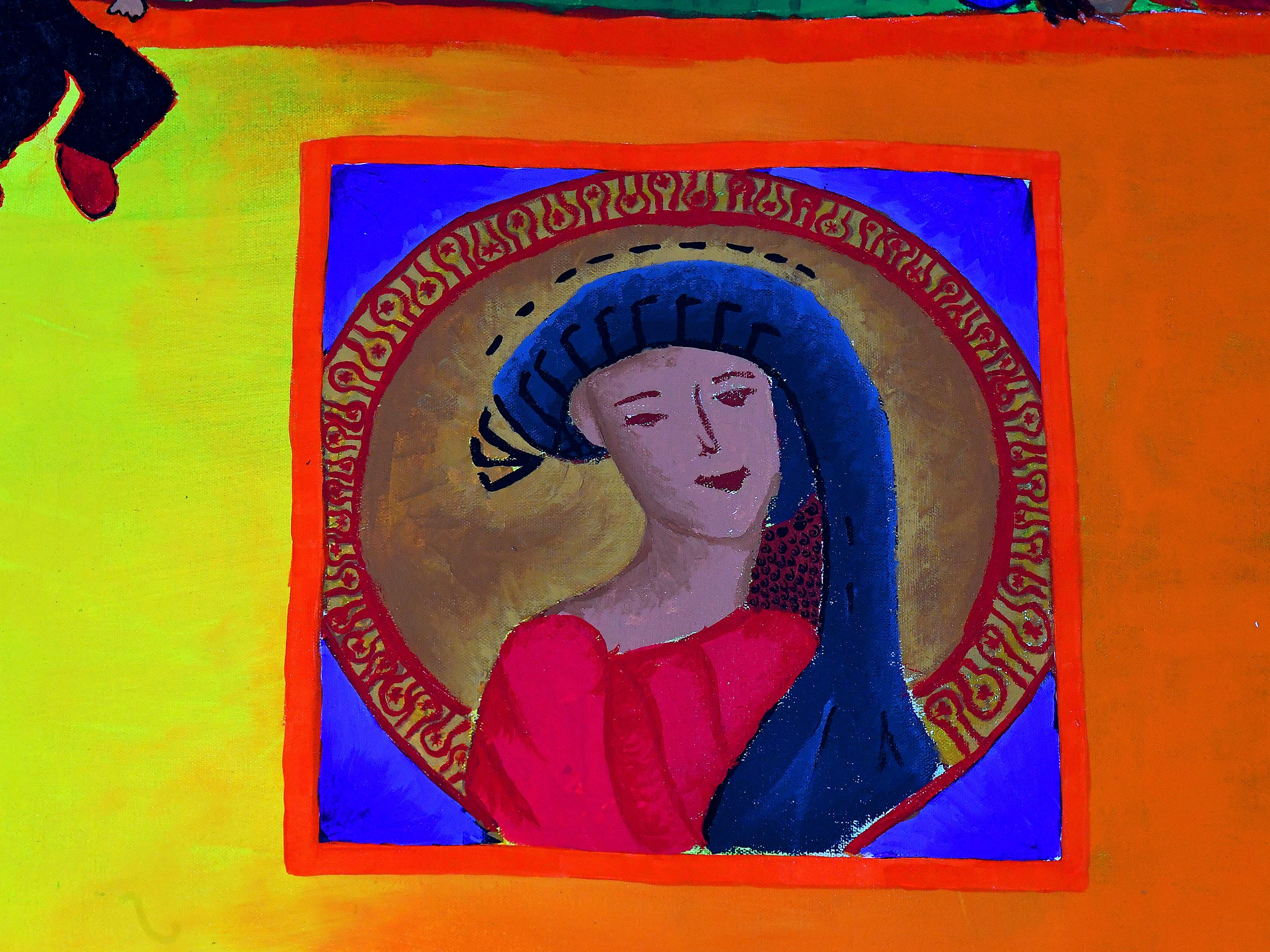 A boy painted this image of the Virgin Mary to occupy a window of the Train of Dreams mural. He felt that his mother and sister were praying to the Virgin for his safe passage on The Beast, even though they had died years earlier.