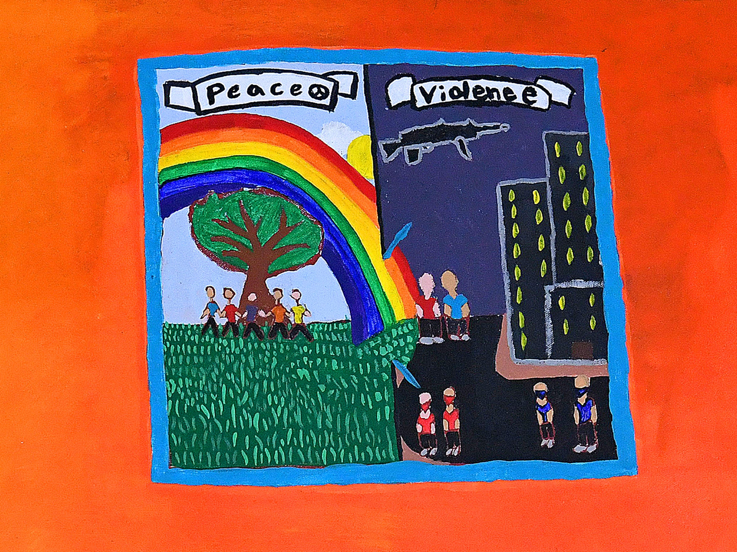 A local youth contributed this image to the Train of Dreams mural created by unaccompanied youth housed in a secure detention center in Augusta County. It depicts the choice between violence and peace that each person must make each day.
