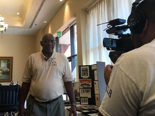 Staunton's Jerry Venable is interviewed by CBS19 prior to his VIA Heritage Association Hall of Fame induction ceremony Friday night at the Doubletree Hotel in Charlottesville.