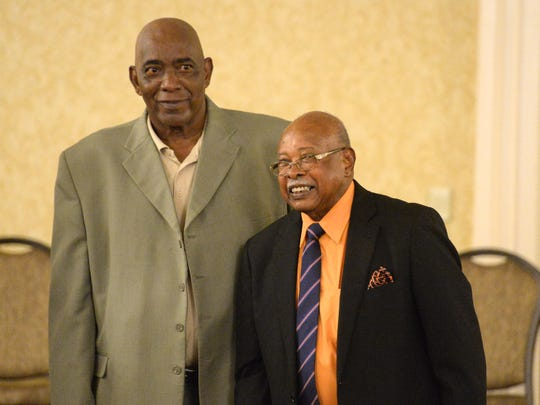 Booker T. Washington's Jerry Venable, left, and Al Hamilton were inducted into the VIA Heritage Association Hall of Fame.