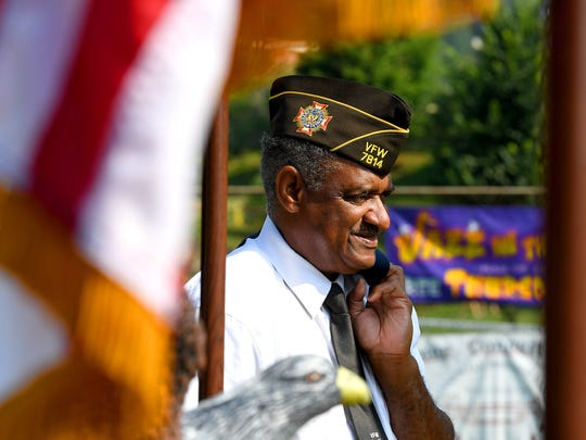 Veteran Frank Darcus of VFW Post 7814 waits for the start of the Happy Birthday America Parade at Gypsy Hill Park in Staunton on Wednesday, July 4, 2018.