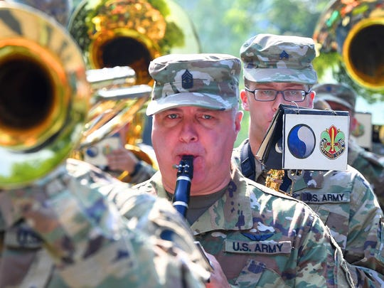 The 29th Army Band performs for the crowd as the follow the parade route. The Happy Birthday America Parade made its way through Gypsy Hill Park in Staunton on Wednesday, July 4, 2018.
