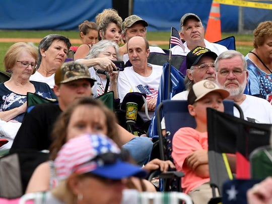 Those gathered listen to Southern Hospitality as they perform as one of the concerts taking place at John Moxie Stadium as part of Happy Birthday America in Staunton on Wednesday, July 4, 2018.