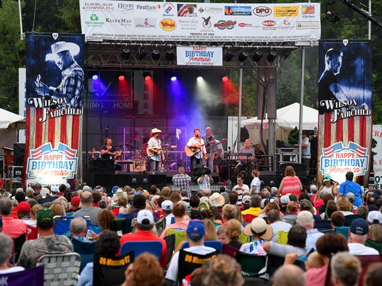 Wilson Fairchild performs live on stage for the crowd gathered at John Moxie Stadium as the feature performance at Happy Birthday America in Staunton on Wednesday, July 4, 2018.