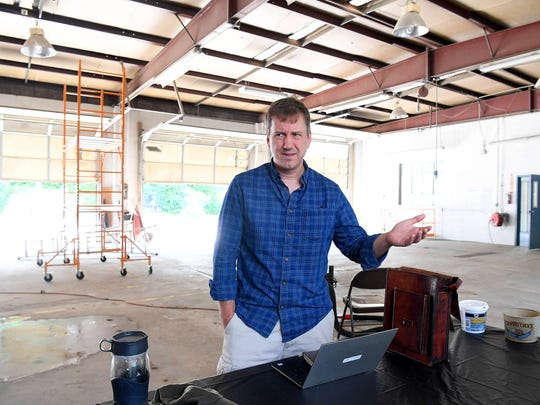 Dan Funk, president of the board for Staunton Makerspace, talks about plans for transforming 20 South Jefferson Street into Staunton Makerspace's future home. Funk speaks during an interview at the location in Staunton on Tuesday, July 17, 2018.