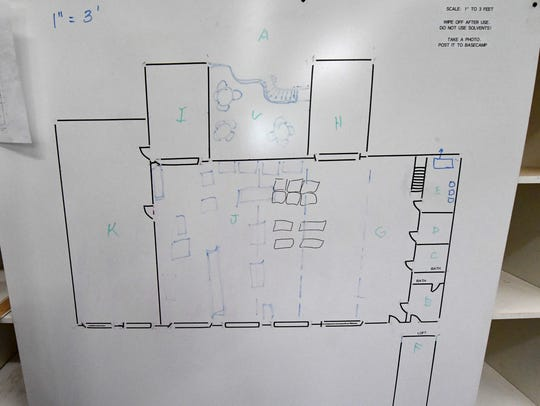 A white board at Staunton Makerspace's current location