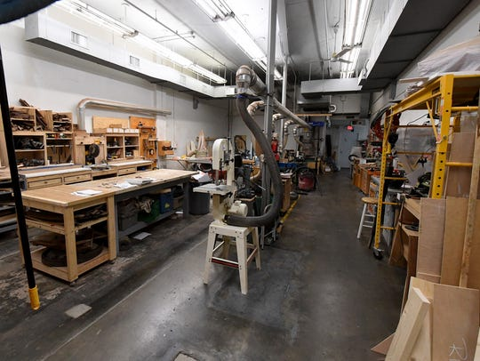 Inside the woodworking area at Staunton Makerspace's