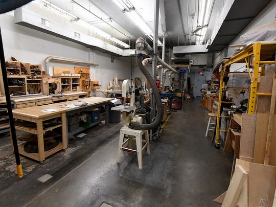 Inside the woodworking area at Staunton Makerspace's current location at 17 North Central Avenue in Staunton. They plan to leave the location for their future home at 20 South Jefferson Street.