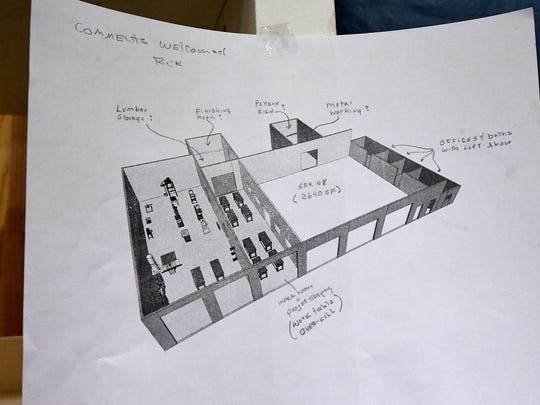 A drawing of the layout of Staunton Makerspace's future home encourages members to offer input on its development.