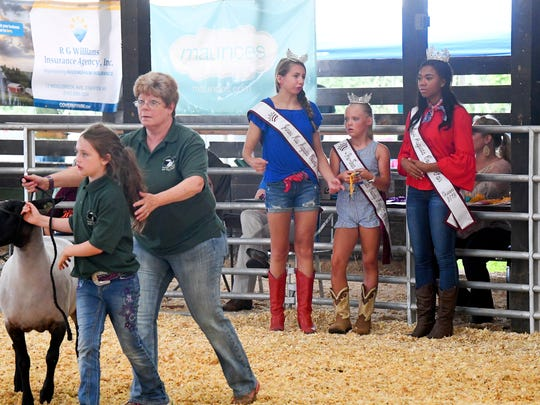 Junior Miss Augusta County Fair Madison Bowyer, Pre-Teen Miss Augusta County Fair Peyton Sheffer and Miss Augusta County Fair Nya Scott wait in the show ring. They assist with handing out ribbons to the winners during the purebred Suffolk sheep show at the fair on Wednesday, August 1, 2018.