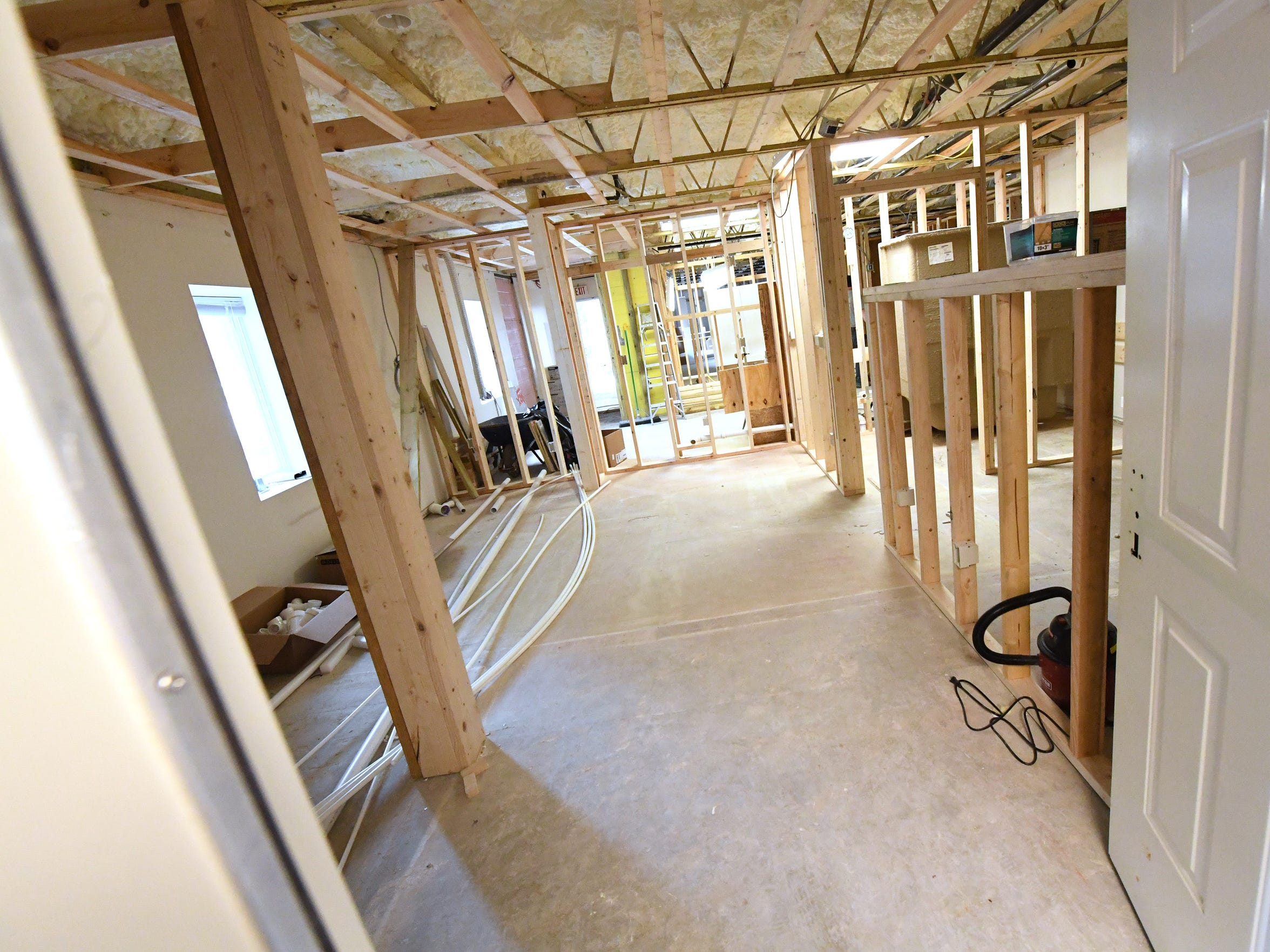 A view inside one of the new apartments being constructed at Johnson Street Apartments.
