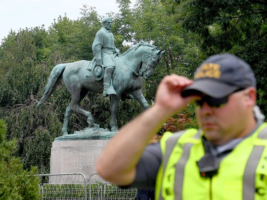 Statue of Robert E. Lee at Emancipation Park, closed to the public this weekend, near the Downtown Mall in Charlottesville, Va., on Saturday, August 11, 2018.
