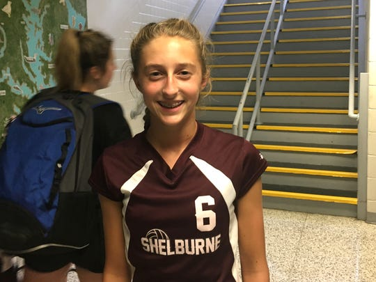 Shelburne's Emma Shuey not only played three volleyball