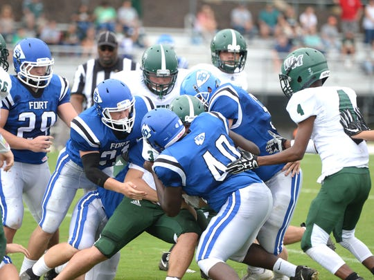 Fort Defiance's game Saturday, Sept. 8 against William Monroe, won by the Indians 14-7, kicked off at 11 a.m. Fort AD Mark Mace said if the game had kicked off at 1 p.m.,they would not have gotten it game in.