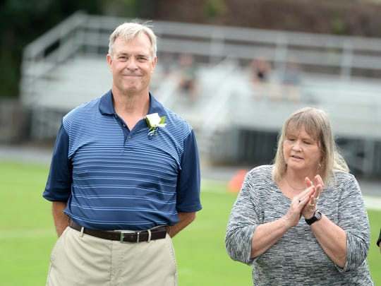 Dale Spitzer, standing with his wife Sue, was inducted