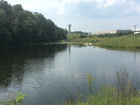 In addition to the walking trail, there is pond at