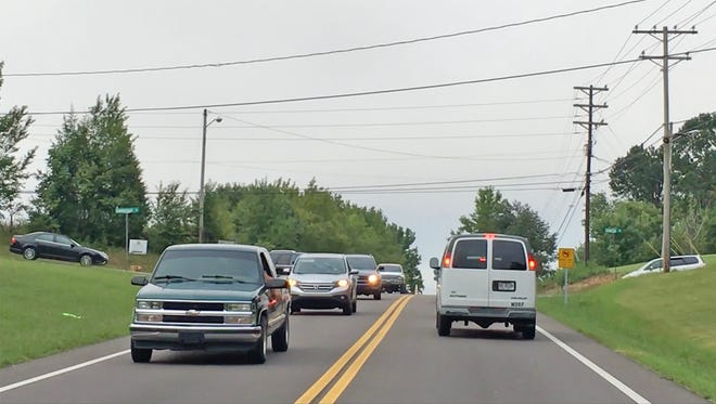 Traffic congestion at the intersection of Cumberland Drive and Highway 100 in Fairview.