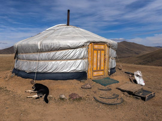 People in Mongolia who herd horses, sheep and goats live in these round felted tents called gers. Guy Seeklus of the Camel Safari in Bunkerville wants to place versions of these on the premises, including a large one for hosting special events.