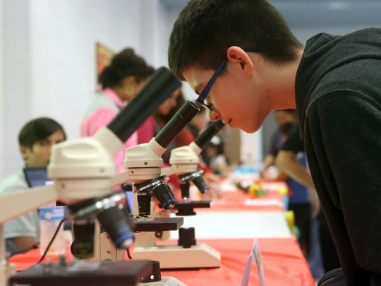 Phil de la Garza views a plant cell with the help of a microscope during Science Night on Friday, Feb. 10, 2017, at Garza-Gonzalez Charter School in Corpus Christi.