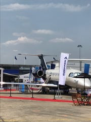 This Embraer Legacy 450 business jet, on display this week at the Paris Air Show, was assembled at the Orlando Melbourne International Airport.