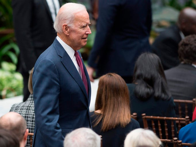 Former Vice President Joe Biden arrives for the unveiling