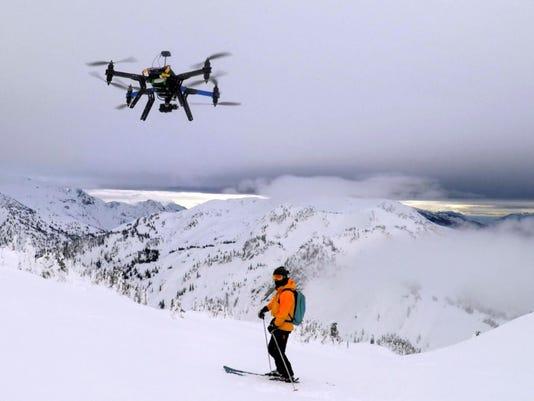 Drone, heliskier in Revelstoke, B.C. resort