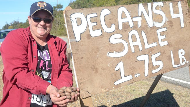 Tracey Thrasher sells pecans along La. Highway 8 near Colfax during the 2014 Louisiana Pecan Festival.