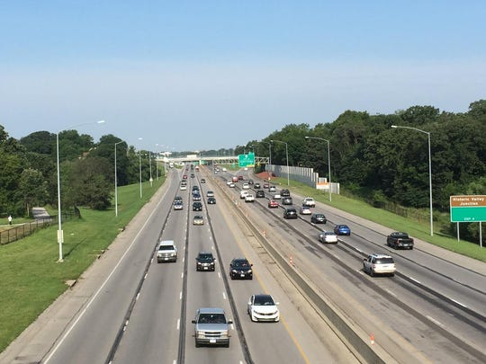 Traffic moves along Interstate Highway 235 on the west side of Des Moines. This photo is looking west from the 56th Street overpass.