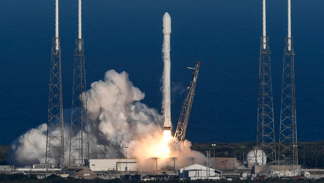 A SpaceX Falcon 9 rocket lifts off from Cape Canaveral Air Force Station's Launch Complex 40 at 6:51 p.m. Wednesday, April 18, 2018. The rocket is carrying NASA's planet-hunting Transiting Exoplanet Survey Satellite (TESS) mission.