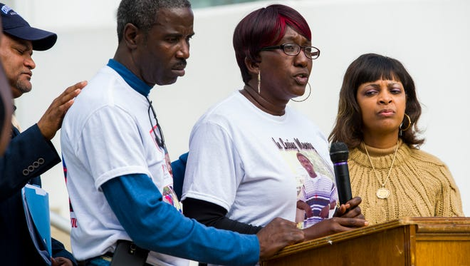 Vanessa White, mother of the deceased Victor White III, speaks during a rally for White at the Iberia Parish Courthouse in New Iberia, La., Saturday, November 8, 2014. Victor White III allegedly committed suicide while in custody of the Iberia Parish Sheriff's deputies in 2014 with the family calling for answers from the police.  Paul Kieu, The Advertiser