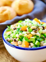 Healthy Black-Eyed Peas Salad is loaded with protein, iron, Vitamin A, potassium, folate and dietary fiber.