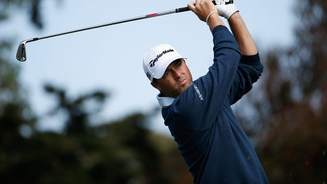 Ryan Palmer hits his tee shot on the second hole during round one of the World Golf Championship Cadillac Match Play at TPC Harding Park on April 29 in San Francisco.