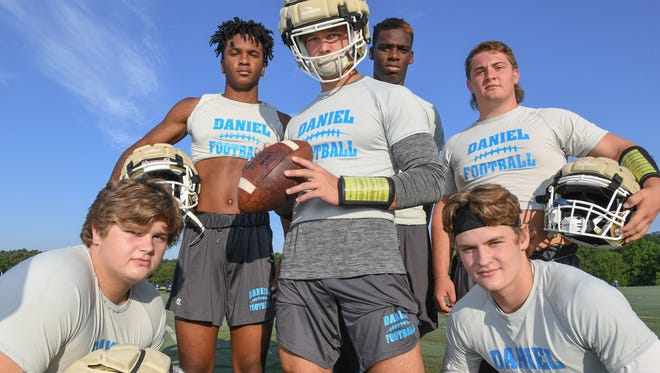 DW Daniel HS football players, from left; Campbel Guffee, Tresean Hallums, Tyler Venables, Brenton Benson, Dylan Shiflett, and Hampton Earle.