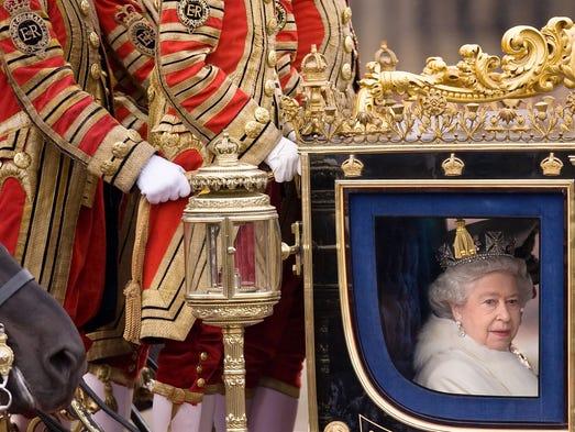A file photo of Britain's Queen Elizabeth II leaving