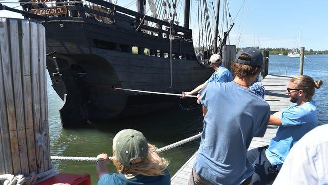 "Crew members from the Vero Beach City Marina and the Columbus Foundation work to secure the Nina to the docks after arriving from Jupiter. ""It's a great feeling to be back in Vero Beach,"" said Stephen Sanger, captain aboard the Nina. ""It's been three years and we're excited to have the same turnout we did as last time."" Both the Nina and the Pinta will be available for tours, 9 a.m. to 6 p.m. through April 9.  CQ: Stephen Sanger"
