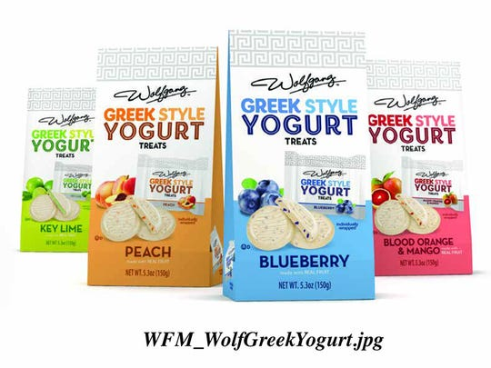 The package design of Wolfgang Candy Company's Greek Style Yogurt Treats won WFM Design a Graphic Design USA American Package Design award.