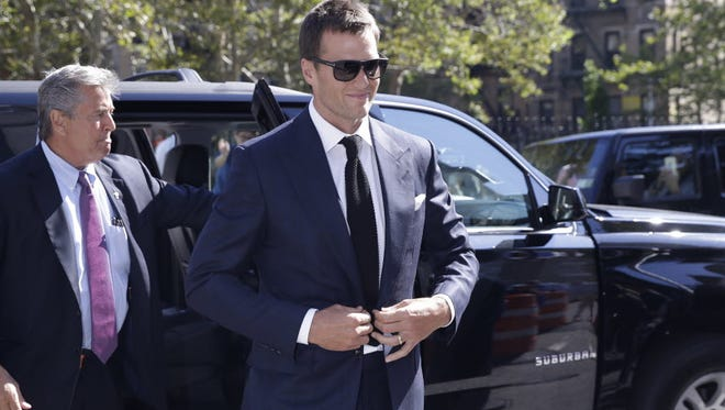 Tom Brady arrives at court for a hearing regarding his four-game suspension imposed by the NFL on Aug. 12, 2015.