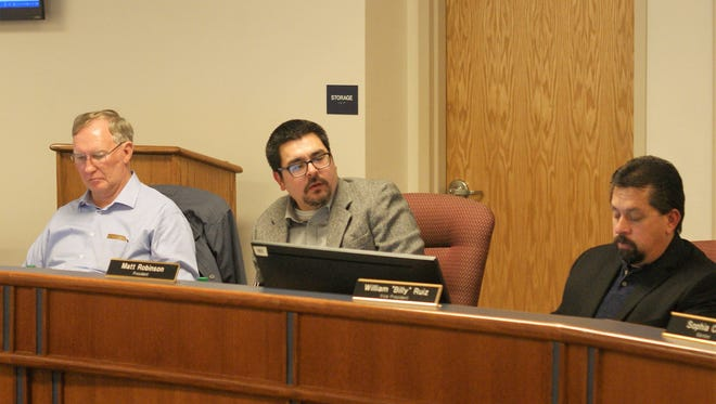 From left, Deming Board of Education Secretary Bayne Anderson, President Matt Robinson, and Vice-President Billy Ruiz at Thursday's meeting.