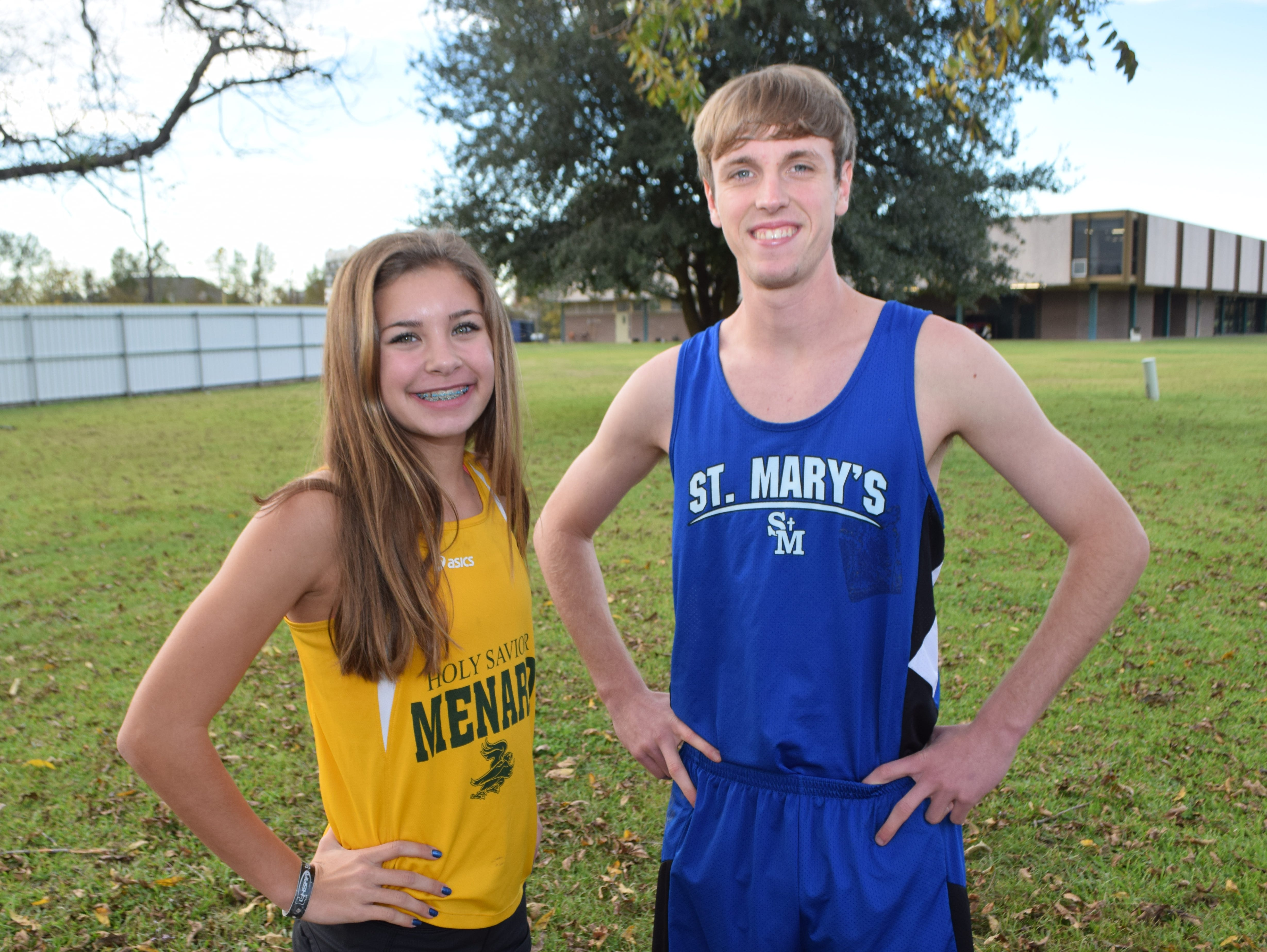 Claire Vaughn (left) of Menard and Scott Maggio of St. Mary's are All-Cenla Cross Country MVPs.