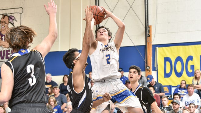 Fall River's Zachary Thompson goes up for a basket last Saturday in the NorCal D-VI semifinal against Sacramento Waldorf. Fall River went on to beat Liberty Christian for the NorCal championship Tuesday.