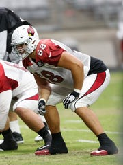 Arizona Cardinals guard Ted Larsen (62) and LT Jared Veldheer (68) line up  during training camp August 26, 2015.