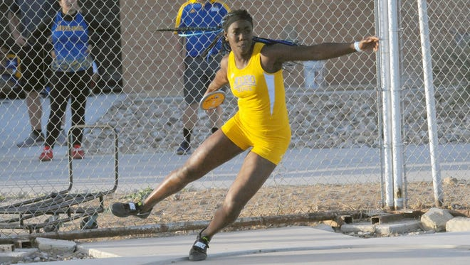 Angelo State sophomore Daisy Osakue prepares to throw the discus during the David Noble ASU Relays on Sunday, April 8, 2018. Osakue set the NCAA Division II record in the event with a throw of 195 feet, 11 inches.