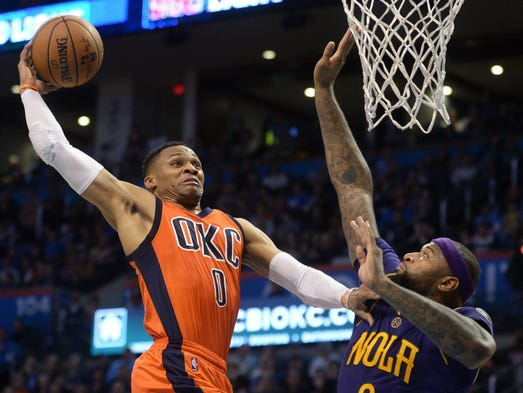 Oklahoma City Thunder guard Russell Westbrook is fouled