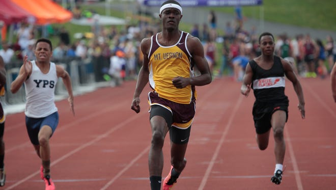 Mount Vernon's Rai Benjamin set a pair of records Sunday — the Section 1 mark in the 100-meter dash and the state record in the 400 hurdles.
