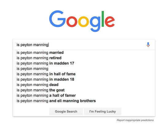 Here are the top 10 things people google about Peyton