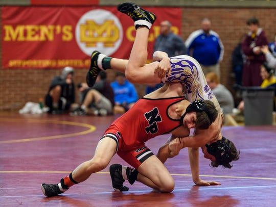North Posey's Kameron Kendall flips Sullivan's Kyle