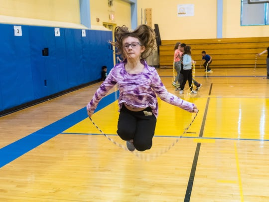 Emily Rearick jump ropes for Jump Rope for Heart at